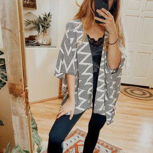 Painted Threads Black + White Chevron Kimono